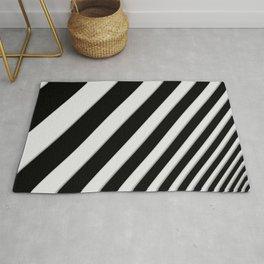 Perspective Solid Lines - Black and White Stripes - Digital Illustration - Artwork Rug