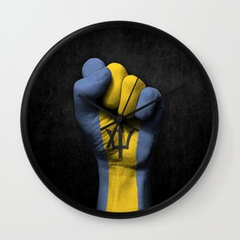 Barbados Flag on a Raised Clenched Fist Wall Clock
