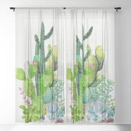Cactus Garden II Sheer Curtain