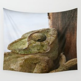 Close Up Of A Wild Green Chameleon Wall Tapestry