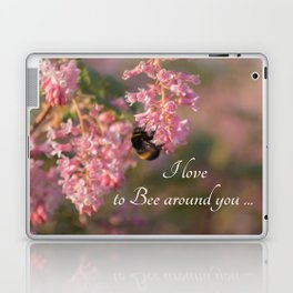 Nature bee on pink flowers with a beautiful quote Laptop & iPad Skin