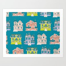 Victorian Homes Pattern Art Print