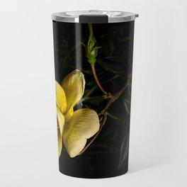 Yellow rose on black -3 Travel Mug