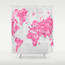 Pink watercolor world map with cities - PRINTS IN SIZES L & XL ONLY Shower Curtain
