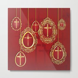 Gold crosses and eggs shapes on red Metal Print