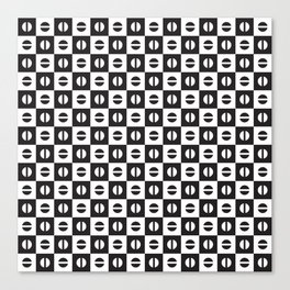 black and white circle and square pattern background Canvas Print