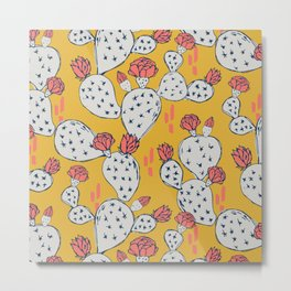 Coral Flowering Cactus on Mustard Yellow Metal Print