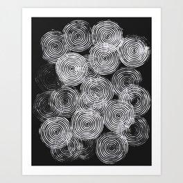 Radial Block Print in Black Art Print