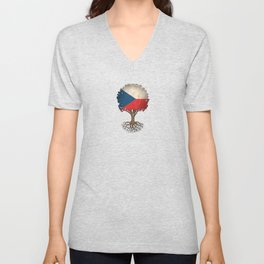 Vintage Tree of Life with Flag of Czech Republic Unisex V-Neck