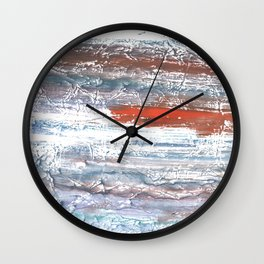 Orange blue stained watercolor pattern Wall Clock