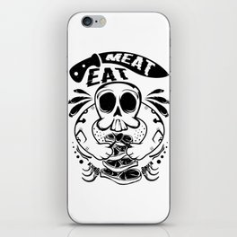 A Unique Detailed Skull Tee For Yourself? Here's An Awesome T-shirt Saying Meat Eat Knife Meaty iPhone Skin