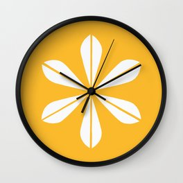 Mustard Yellow and White Cathrineholm Lotus Wall Clock