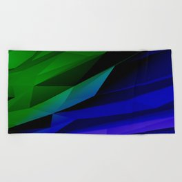 Geo Green and Blue Beach Towel