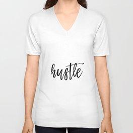 Hustle Poster - Motivational Quote Print Inspirational Saying Typographic Unisex V-Neck