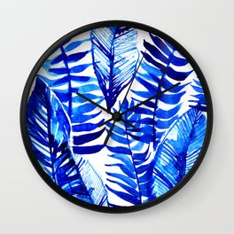 Jungle Leaves & Ferns in Blue Wall Clock