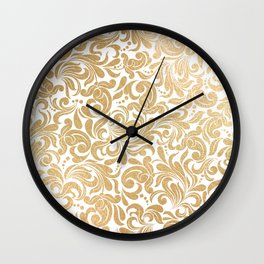 Gold foil swirls damask #13 Wall Clock