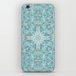 Soft Teal Blue & Grey hand drawn floral pattern iPhone Skin