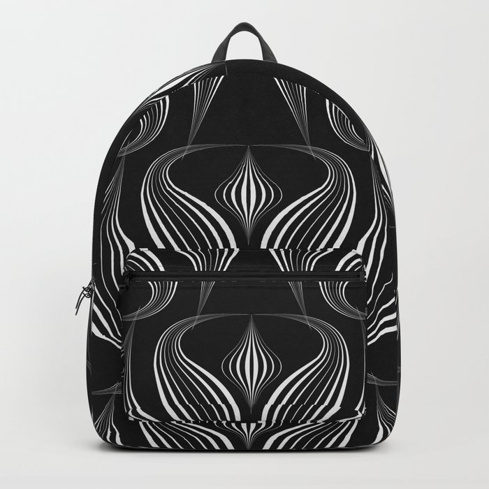 "Art Deco . Black and white pattern ."" Waterfall "". Backpack"