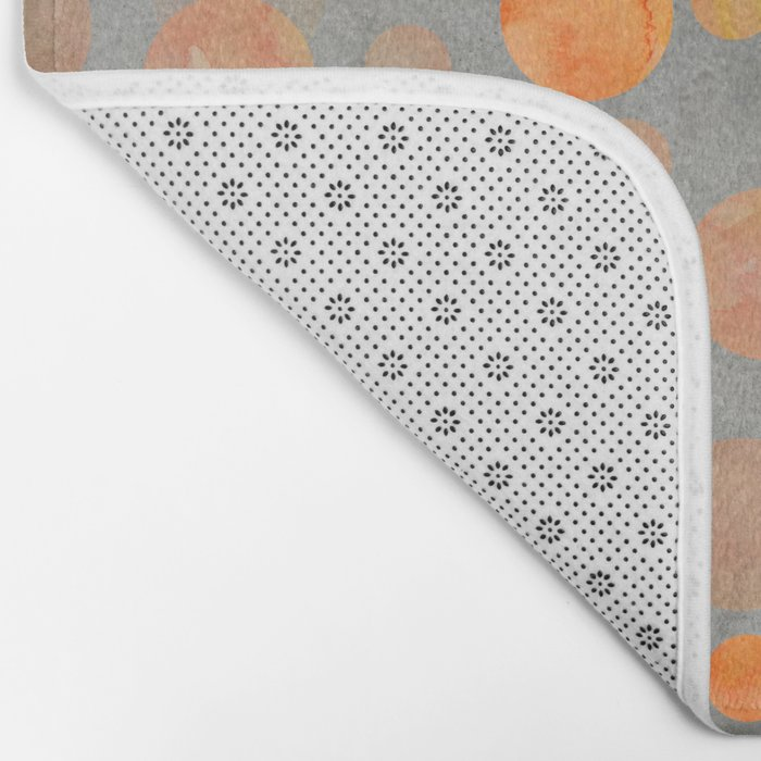 Fancy orange Dot Pattern on grey Bath Mat