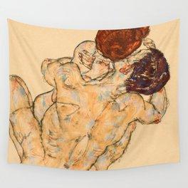 """Egon Schiele """"Mann und Frau (Umarmung)"""" Wall Tapestry"""
