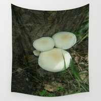 mushrooms Wall Tapestries featuring Mushrooms by Raquel Belloch