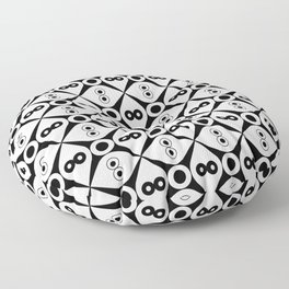 Symmetric patterns 144 Black and white Floor Pillow