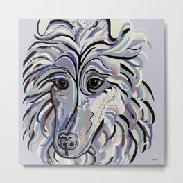 Collie in Denim Colors Metal Print