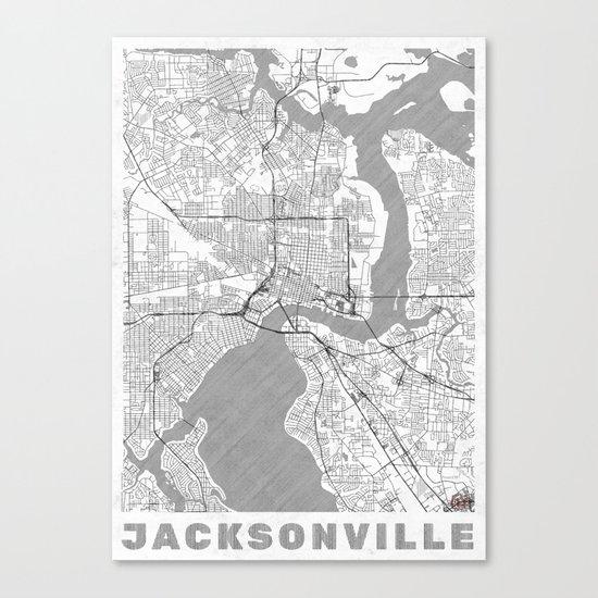 Jacksonville Map Line Canvas Print