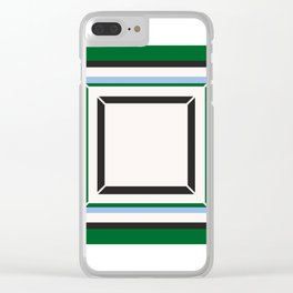 Green Blue And White Tile Clear iPhone Case