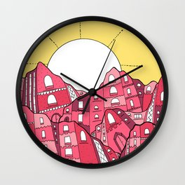Mountain Town Wall Clock