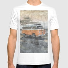 Vintage Campervan MEDIUM White Mens Fitted Tee