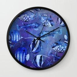Watercolor fish pattern dark blue Wall Clock