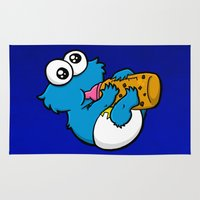 cookie monster Area & Throw Rugs featuring Cookie Juice by BinaryGod.com