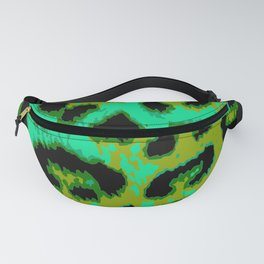Aqua and Apple Green Leopard Spots Fanny Pack