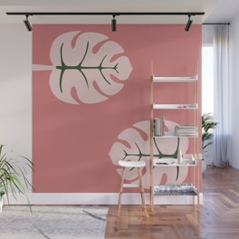 Tropical leaves Monstera deliciosa flaming pink #monstera #tropical #leaves #floral #homedecor Wall Mural