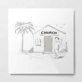 Samoan Boy Stand By Church Cartoon Metal Print