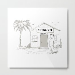 Samoan Boy Stand By Church Cartoon Metal Print