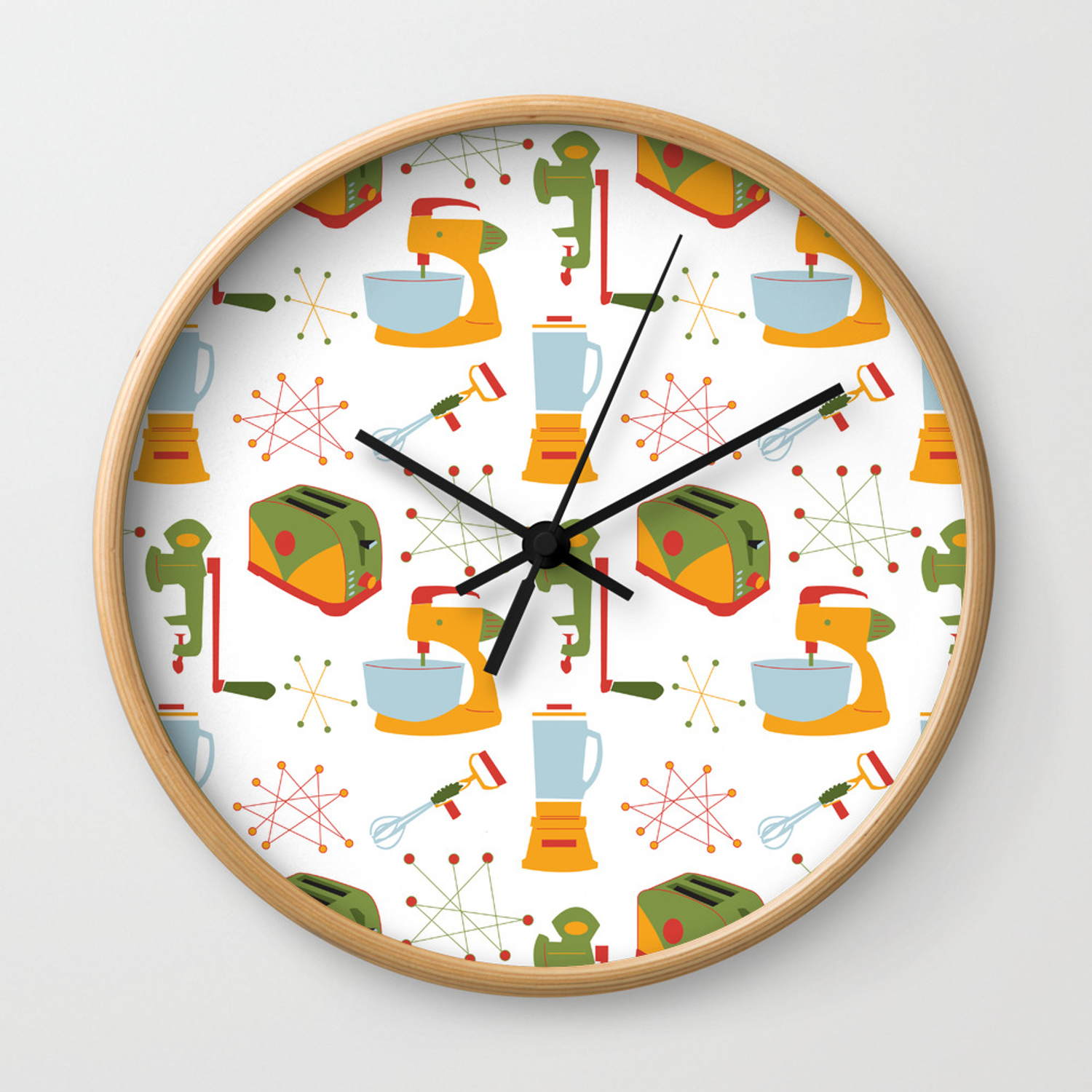 Retro Kitchen Orange And Green Wall Clock By Whyitsmedesign Society6