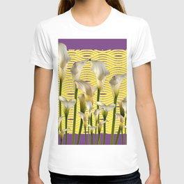Purple-Yellow Calla Lilies Pattern T-shirt