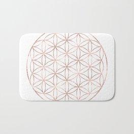 Mandala Rose Gold Flower of Life Bath Mat