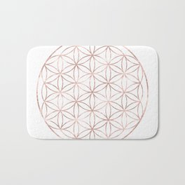 Mandala Rose Gold Flower of Life Bath Mat