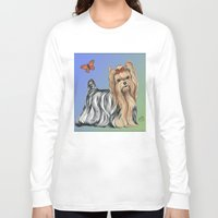 yorkie Long Sleeve T-shirts featuring Yorkshire Terrier - Yorkie- by Nina Lyman of Dogs By Nina by Cats and Dogs by Nina Lyman