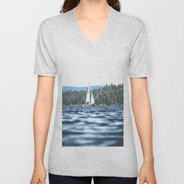 Calm Lake Sailboat Unisex V-Neck