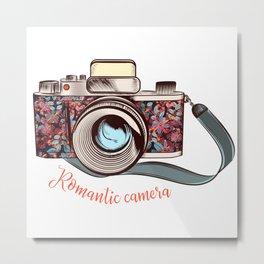 Beautiful pretty gurlish camera with flowers Metal Print
