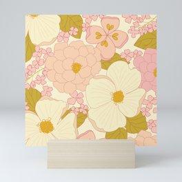 Pink Pastel Vintage Floral Pattern Mini Art Print