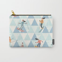 Ski skiing winter snow mountain pattern Carry-All Pouch