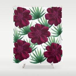 Maroon flowers Shower Curtain