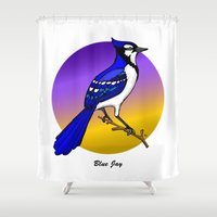 jay z Shower Curtains featuring BLUE JAY by SCREAMNJIMMY