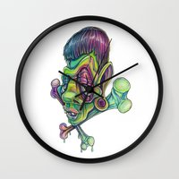 frank Wall Clocks featuring Frank by Kikillustration