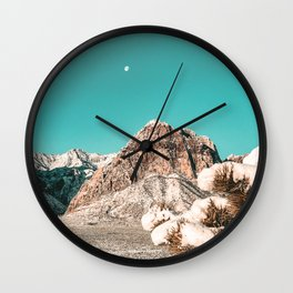 Vintage Desert Snow Moon // Cactus Plant in Winter Red Rock Canyon National Park Luna Sky Wall Clock